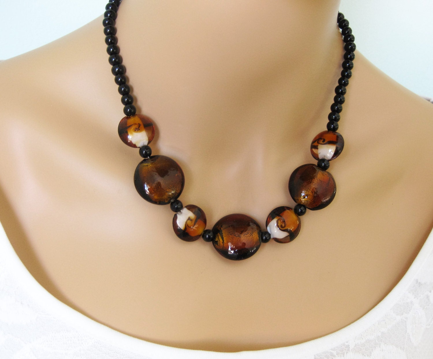 Brown Glass Bead Necklace