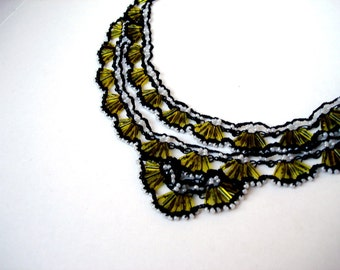Crochet Beaded Necklace, Bead Crochet Bib Statement necklace