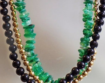 SALE Vintage Three Strand Beaded Necklace.  Faux Green Jade, Gold and Black Lucite Bead Necklace.