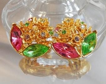 FALL SALE Vintage Rhinestone Earrings. Flowers. Leaves. Pink Green Rhinestones.