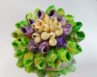 FALL SALE Vintage Shell Brooch Purple Green Cream Flower