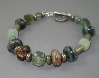Gemstone Bracelet, Moss aquamarine, Green Opals and Pyrite with Oxidized Sterling Silver Bracelet