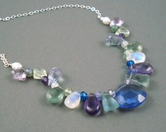Mixed Gemstone Necklace, Everyday Wear Necklace, Amethyst, Topaz, Aquamarine, Moonstone, Tanzanite Quartz Sterling Silver Chain
