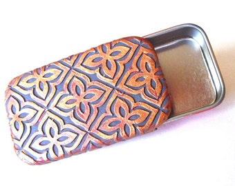 Metal Pill Box Floral Tile Violet and Silvery Pink Diamond Purse Accessory Pocket Pill Case Travel Pill Box Slide Top Tin FREE Gift Pouch