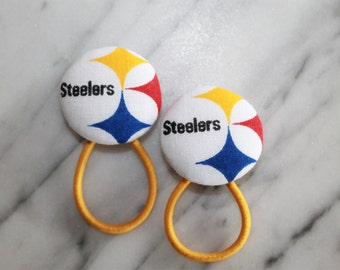Pittsburg Steelers pony tail holders make adorable party favors, gifts, everyday hair accessories