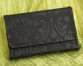 Limited Edition Premium 3DS XL Hard Case Black Damask textured Vegan Leather and  Faux Suede