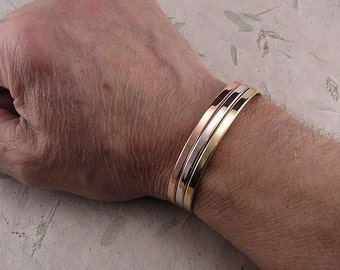 Pure Copper Sterling Silver and Solid 14K Yellow Gold  Bracelet Set