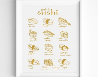 White and Gold Sushi Lovers Gift, Sushi Guide Illustration, Vintage Style, Illustration Art Print, Wall Art, Japanese Food, Foodie Gift Idea