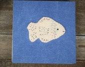 hand-dyed square indigo hand-bound journal with wool felt animal: fish by kata golda