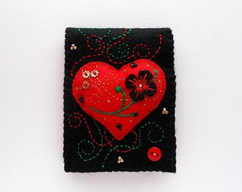 Needle Book Embroidered Red Raised Felt Heart on Black Felt Cover Hand Embroidered Handsewn