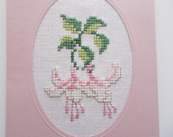 Cross Stitch Greeting Card Fuchsia in Oval Passepartout Old Rose Folded Cardstock Blank Greeting Card