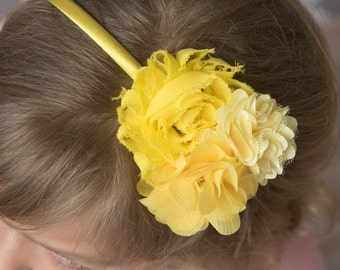 Yellow hard headband, photogrpahy prop, girl flower headband, toddler headband, yellow wedding flower girl gift, girl hair accessories