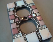 MOSAIC Electrical Outlet COVER , Wall Plate, Wall Art, Plug Cover, Pink, white, Silver