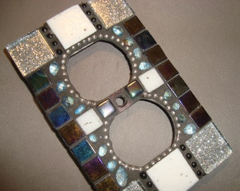 MOSAIC Electrical Outlet COVER , Wall Plate, Wall Art, Silver, Iridescent Black, Aqua, White