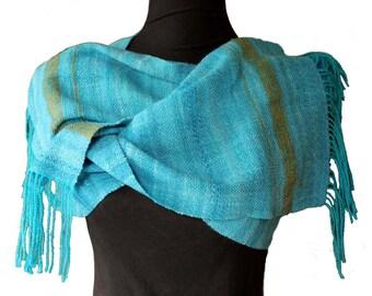 Soft Blue Shawl. Hand dyed Hand spun Hand woven