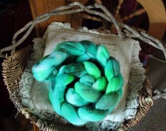 Merino Roving, Hand-Dyed Roving, 18.5 micron, Cool Greens, Superfine merino