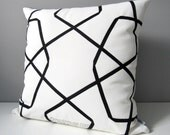 Black White Outdoor Pillow Cover, Modern Geometric Pillow Cover, Decorative Pillow Case, Lattice, Trellis Sunbrella Cushion Cover, Mazizmuse