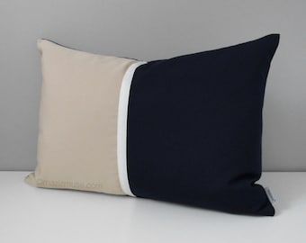 Decorative Navy Blue Outdoor Pillow Cover, Modern Color Block Pillow Cover, White, Navy and Antique Beige Sunbrella Cushion Cover, Mazizmuse
