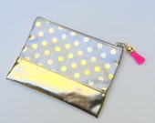 Mini Polka Dot Clutch in Silver with Pink Tassel