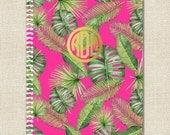 Spiral Notebook - Monogrammed in Gold Foil Effect in BANANA LEAF Collection - Personalized Notebook by A Blissful Nest