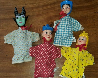 1959 Gund Disney Sleeping Beauty Hand Puppet Set Maleficent Prince Merryweather