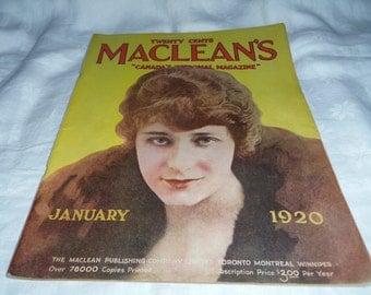 MacLeans Magazine January 1920 Original Pub. Paper Ephemera