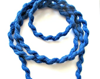 """Cotton rope twisted 8mm, twisted cotton cord 8mm, twisted cord rope, cotton rope for craft, soft cotton rope, summer blue rope, """"S"""" cord, 2m"""