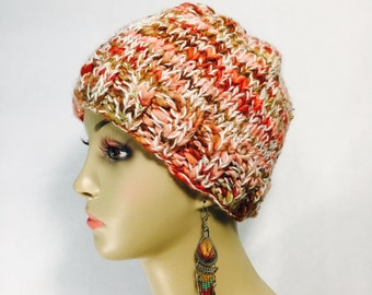 Pink Sequined Knit Hat
