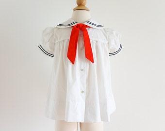 Vintage 1970s Girls Size 3 Dress / 70s Annette Elane Cotton Sailor Dress VGC / Red White Blue, Nautical, Patriotic