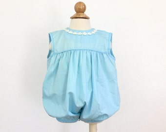 "Vintage 1960s Baby Size 9-12M Romper by Thomas / length 14"" /  Light Blue Cotton, Balloon Shaped Saddle, Embroidered Daisy Trim"