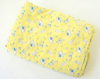 "Vintage 1960s Baby Crib Blanket / 33x51"" Yellow Cotton Bunnies Horses Elephants Novelty Print Home-Sewn / Nursery New Baby Shower Gift"