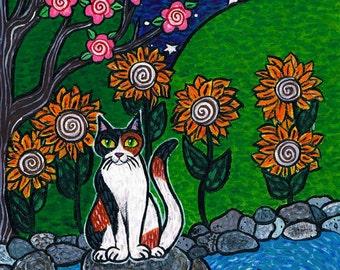 Zen Calico Kitty Cat Original Acrylic Painting