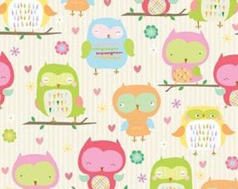 Owl and Co. Fabric C4940 Cream Owls Fabric Riley Blake Designs