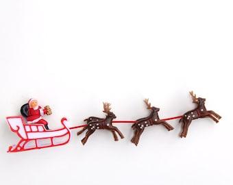 Santa and Reindeer Cake Topper, Retro Santa Sleigh Cake Decoration, Christmas Cake Topper