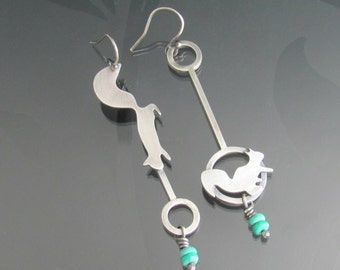 squirrel sterling silver turquoise earrings - squirrel earrings - woodland jewelry - squirrel jewelry - forest - animal