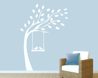 Tree With Birds On Swing - Nursery and Kid's Room Trees Wall Decals