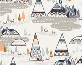 Crib Sheet-Teepee Fabric, Modern Tribal Fabric-Navy-Indian Summer Art Gallery Fabric-Diaper Changing Pad Cover