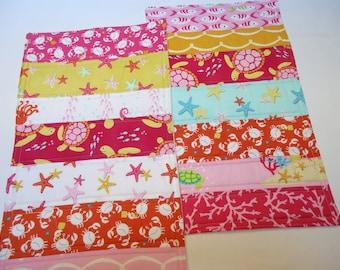 Baby Girl Burp Cloths-Nautical-Sea Buddies-Fish-Sea Turtles-Starfish-Beach-Pink-Coral-Homemade Burp Rag Clothes