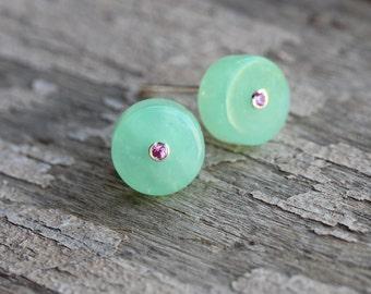 Mint Green Chrysoprase Barrel Bead Stud Earrings Tiny Pink Sapphire Accent Gemstones Unique Round Fresh Summer Gift Idea - Rosenminzchen