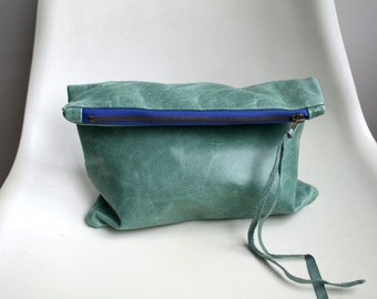 Italian leather clutch bag, leather pouch, Aqua green leather bag lined purse, READY TO SHIP