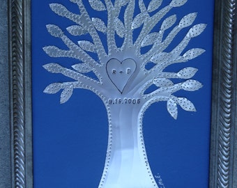 10 Year Anniversary Gift - Tin Wedding Gift - Tree - Personalized - Engraved Dates and Initials Stamped - Aluminum - 10 year Anniversary