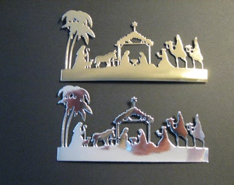 6 Nativity Die Cuts: Shiney Gold or Silver Choose Colors Christmas Stamping supplies card