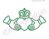 Curly Clauddagh Irish Outline Machine Embroidery Design - Instant Download