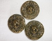 3 Vintage metal Gold tone Lion Buttons • approx. 1 1/8 inch across