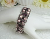 Woven Bracelet Pink Pearl and Amethyst Crystal with Antiqued Silver