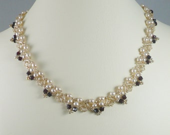 Necklace Woven Pearl and Swarovski Crystal Gold and Garnet