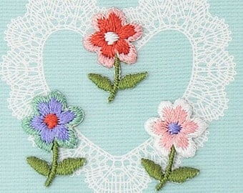 3 Mini Flower Patch - Embroidered Iron On Patch, Japanese Kawaii Floral Iron on Applique, Made in Japan, Cute Embroidery Applique, W076