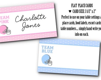 10 Football Place Cards, Food Label Cards, Name cards, Baby Gender Reveal Party, Baby Shower, Football Helmets,Team Pink, Team Blue