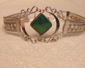 Vintage Silver Turquoise Bracelet-Silver Bracelet-Silver Jewelry-Vintage Jewelry-Boho Jewelry-Boho Bracelet-Ethnic Jewelry-Boho