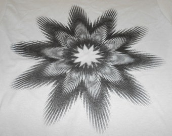 T-Shirt - Fractal Flower (Black on Ice)